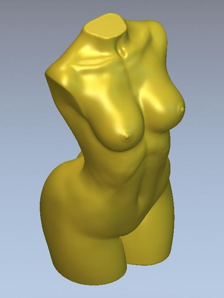 3d model relief for cnc in STL file format torso naked woman--24 panno hunting 2 for cnc in stl file format 3d model relief