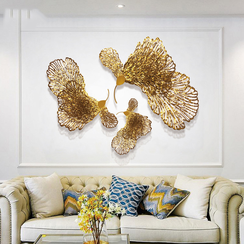 European Wrought Iron Butterfly Flower Wall Hanging Ornaments Home Livingroom Wall Mural Crafts Decoration Hotel 3D Wall Sticker