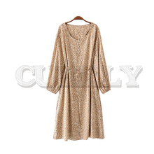 CUERLY women leopard print midi dress O neck bow tie sashes animal pattern wild style female casual dresses vestidos 2019