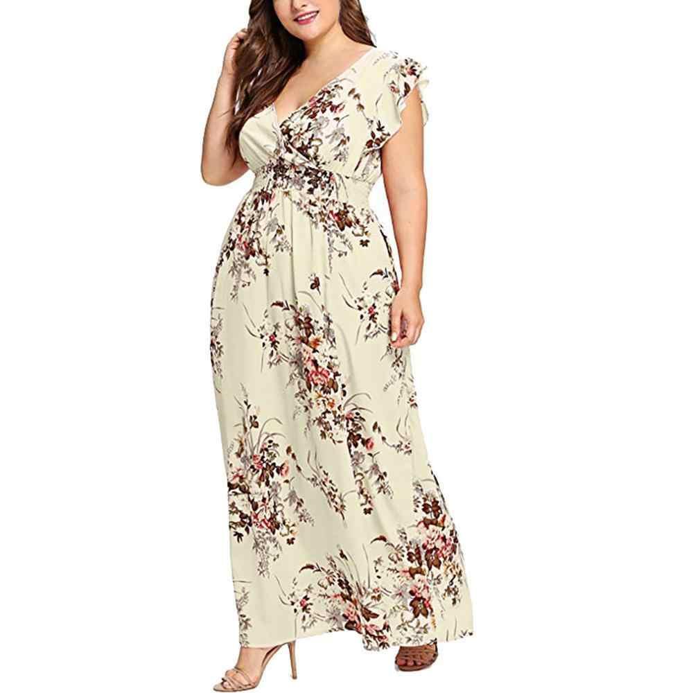 Vrouwen Plus Size Zomer V-hals Bloemenprint Boho Mouwloze Partij Maxi Jurk Kleurrijke Comfortabele Hot Fashion Saia 2019 Ad