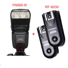 купить Yongnuo YN-560 III Manual Speedlite YN560-III For Canon Nikon DSLR Cameras With YONGNUO RF-603 II Wireless Remote Flash Trigger дешево