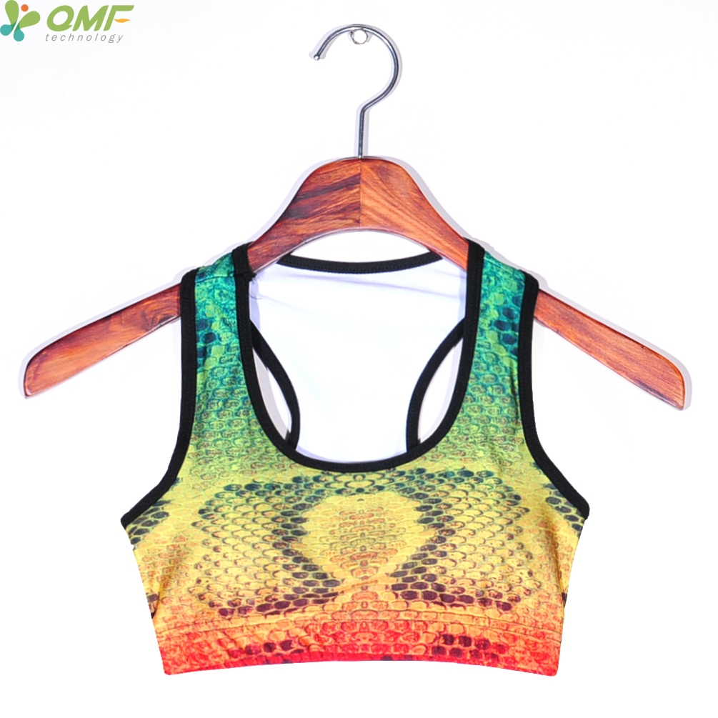 a7005cc38be52 Snakeskin Print Yoga Bra Padded Tank Tops Turquoise Gold Gradient Snakeskin  Sports Bras Running Women Gym Fitness Bra Vest-in Sports Bras from Sports  ...