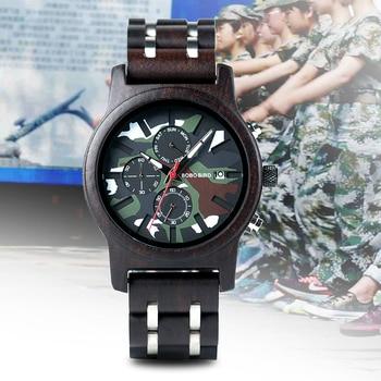 BOBOBIRD Men Watch relogio masculino Chronograph Camouflage Multi Functional Wooden Watches Classic Man Wristwatch C-kR17