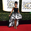 The Golden Globes Red Carpet Dress Hi Low Black Prom Dresses Vestido De Festa Short Sleeve Backless Sexy Celebrity Party Dress