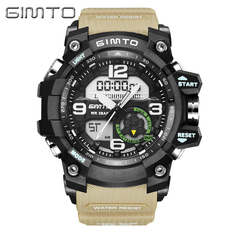 GIMTO Cool Sport En Plein Air Montre Numérique Hommes Double Affichage Étanche Silicone Choc Horloge Militaire Mâle Montres Relogio Masculino