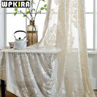 Solid White Sheer Transparent Voile With Horizontal Stripes Jacquard Hollow Polyester Curtains For Living Room Wp033