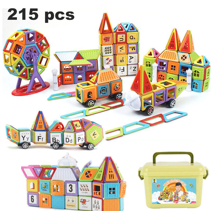 99 215pcs Mini Magnetic Designer Construction Set Model Building Plastic Magnetic Blocks Educational Toys For Kids Gift PGM170