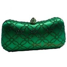 Flower Emerald Dark Green Rhinestone Crystal Clutch Evening Bags for Womens Party Wedding Bridal Crystal Handbag and Box Clutch
