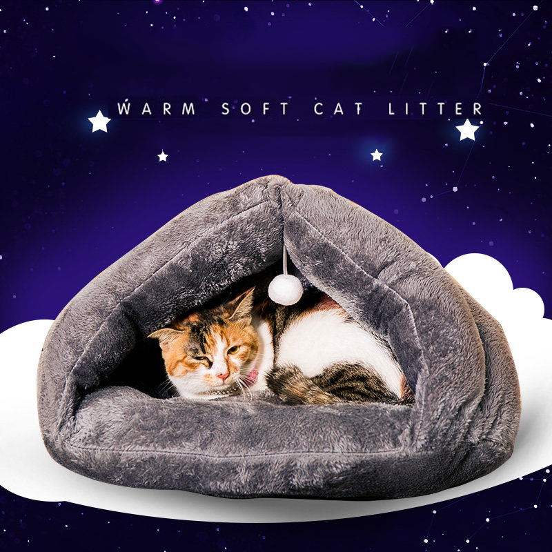 Cat litter dog kennel teddy house cat sleeping bag four seasons cat house pet bed supplies cat mat soft and comfortable Triangle