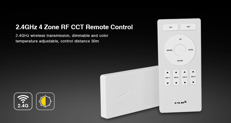 Free shipping Milight 2.4G FUT005 2.4GHz 4 Zone 4zone RF CCT Remote Control brightness adjustable controller dimmer for led bulb