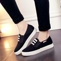 Женщины высокое качество черный холст весенние и осенние плоские туфли леди симпатичные улица стильный обувь женские случайные белые туфли zapatos
