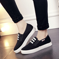 women high quality black canvas spring and autumn flat shoes lady cute street stylish shoes female casual white shoes zapatos