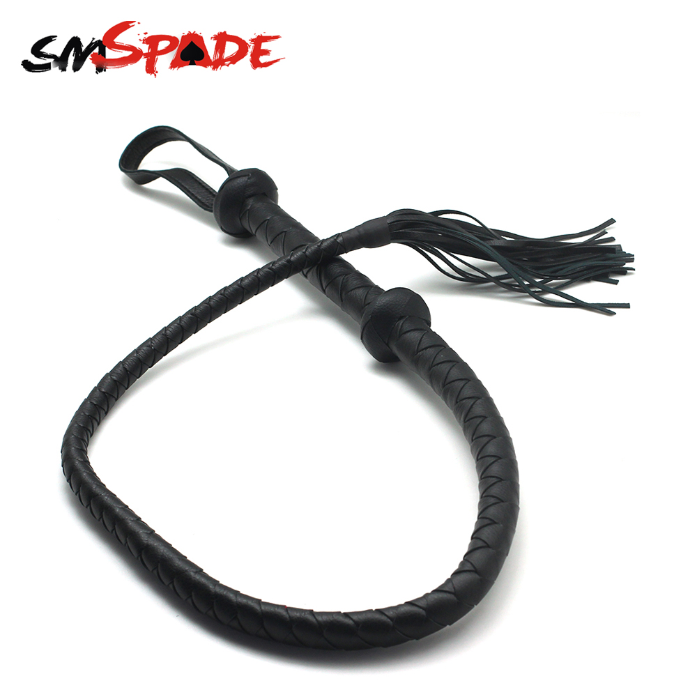 SMspade 120cm PU leather whip for adult sex game,braided leather bull whip,adult sex whip,spanking sex whip for couples