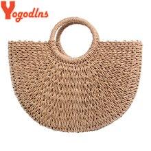 a87973848cea7 Yogodlns 2019 nowych moda księżyc słomy torebki kobiety lato plaża torba  torebka ratanowa ręcznie rocznika tkane torebki dla kob.