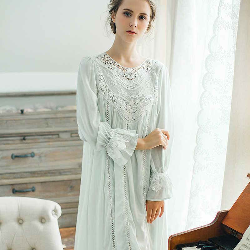 2a208b35b0a ... Осенняя хлопковая ночная рубашка принцессы для женщин с длинными  рукавами ретро романтический рубашки французский суд дворец ...
