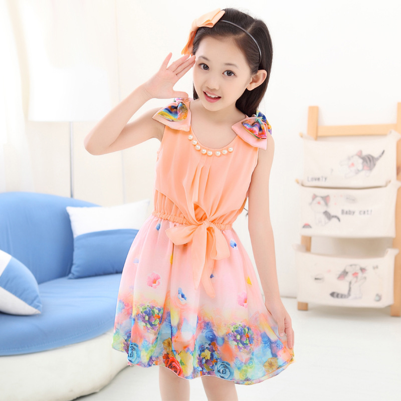 Kids clothing summer dresses for girls summer style girl dress floral print cotton birthday party sundress baby children clothes  summer baby girls party vest dress linen cotton ruffle tutu dress for girl kids 1st birthday princess dresses children clothing