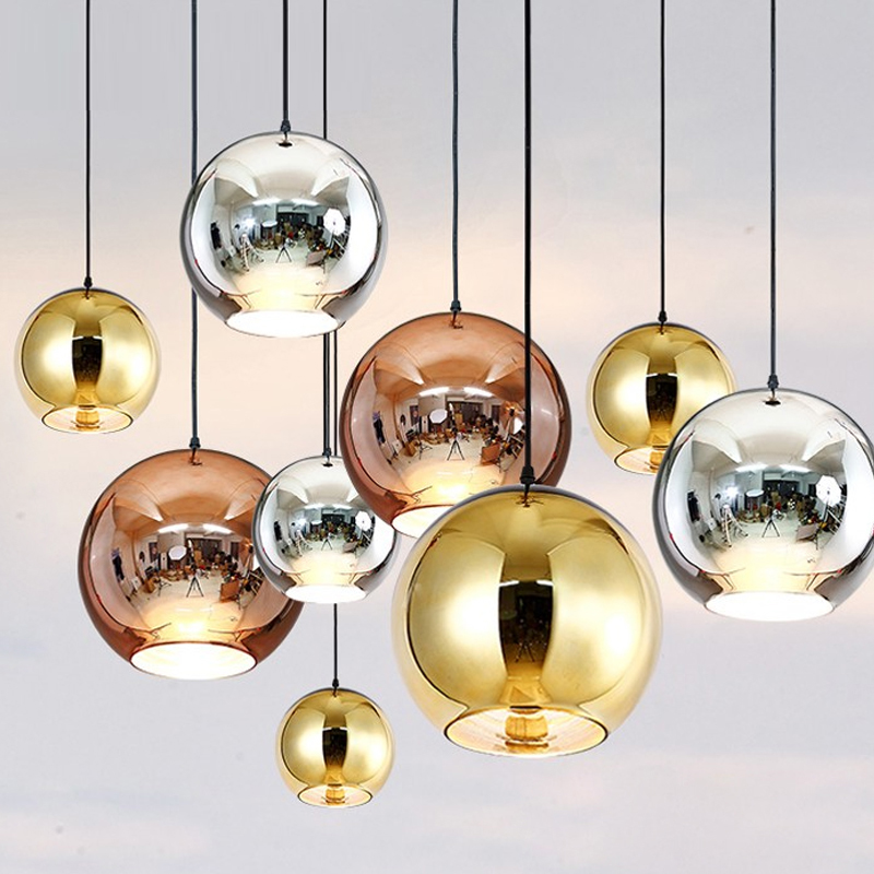 Copper Sliver Shade Mirror Chandelier Light E27 Bulb LED Pendant Lamp Modern Glass Ball Lighting e27 all brass single head hanging light 100% pure copper material pendant lamp with white glass shade led bulb lighting fixture