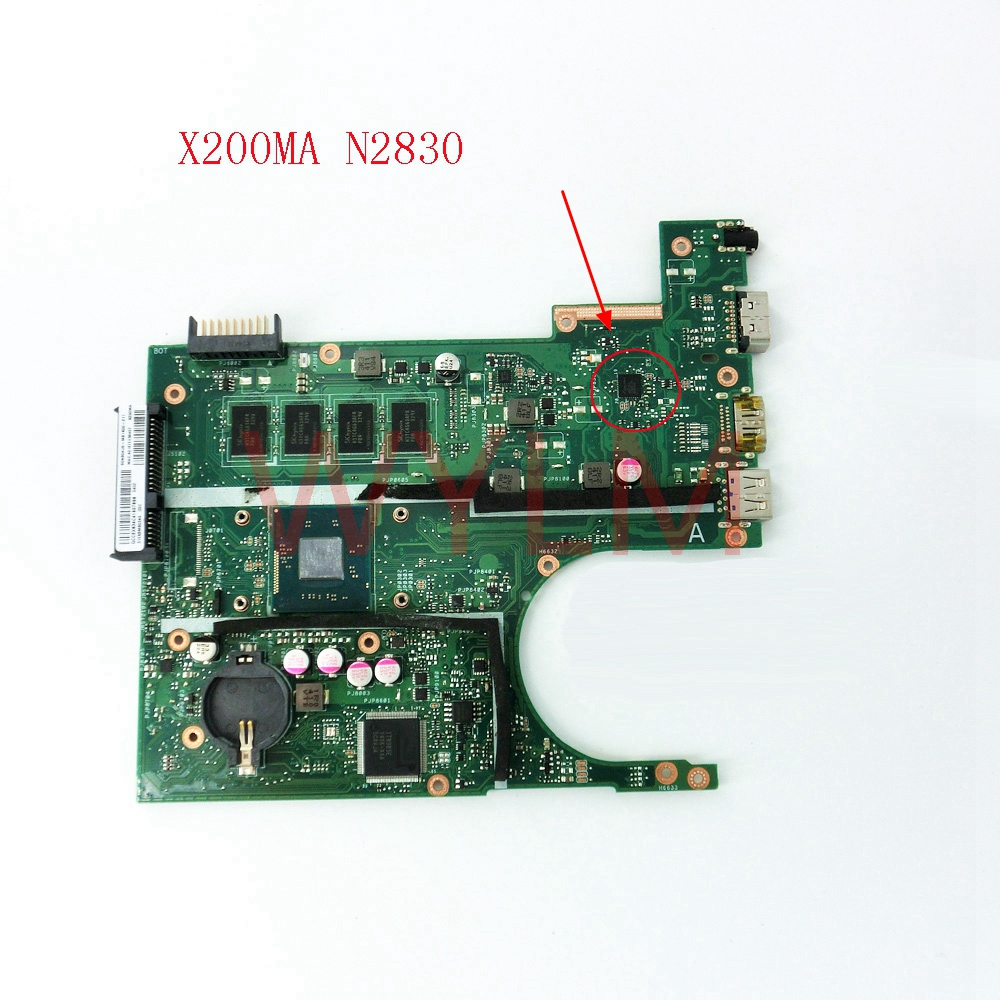 X200MA With N2830 CPU 4GB memory mainboard For ASUS X200 X200M X200MA laptop motherboard 60NB04U9-MB1K00-211 цена