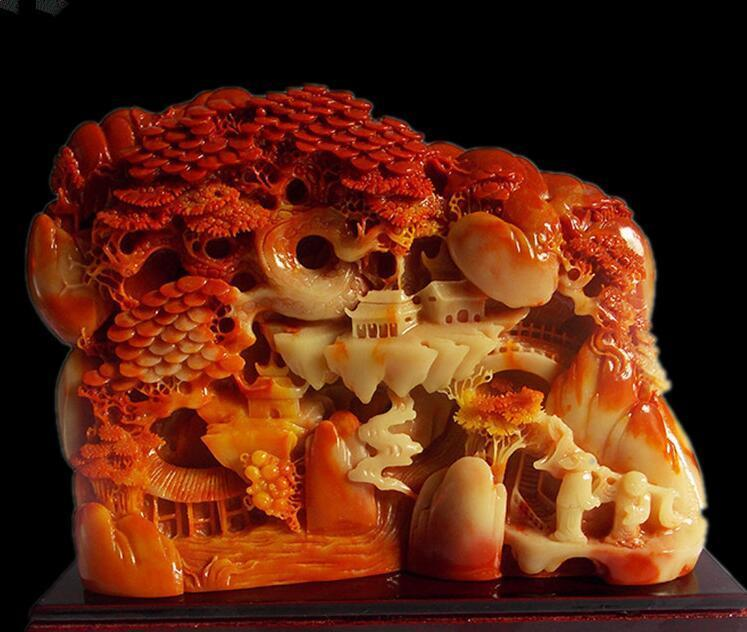 """4/"""" China hand-carved shoushan stone double dragon seal statue Sculpture"""
