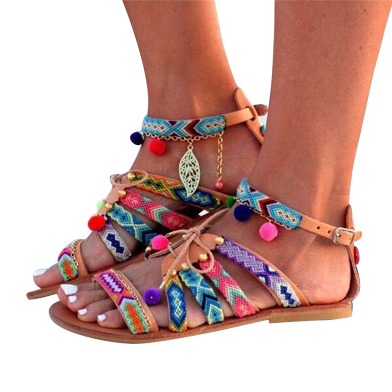 Bohemia sandals Women Summer Shoes Gladiator Leather Beach Flats Shoes Pom-Pom Sandals sandalias mujer chaussures femme ete 2017 summer flat sandals ladies jelly bohemia beach flip flops shoes gladiator women shoes sandles platform zapatos mujer sandalias