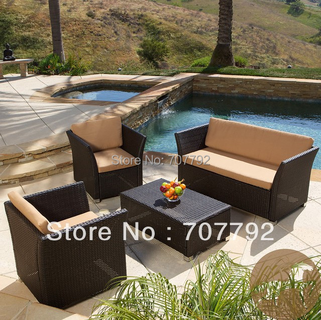 Home Brown 4 piece All weather Wicker Patio Furniture Sofa Set. Online Get Cheap Brown Wicker Furniture  Aliexpress com   Alibaba