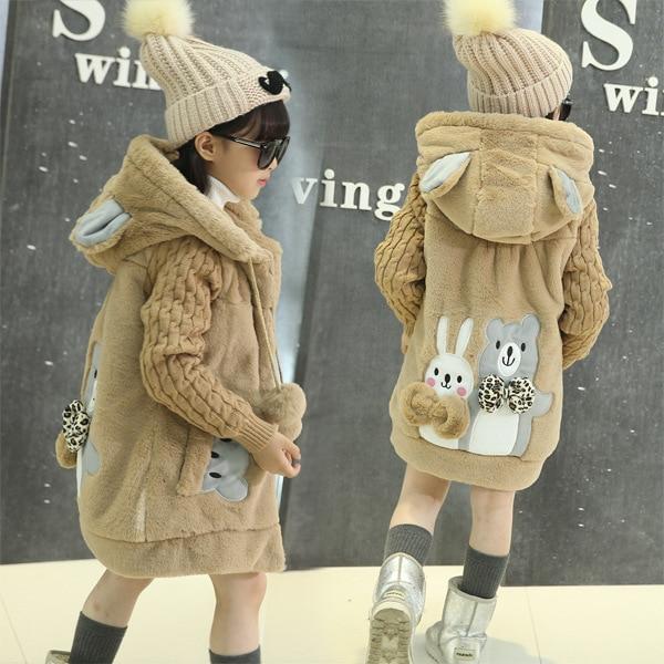 OLEKID 2016 New Cartoon Rabbit Winter Girls Parka Thick Warm Hooded Children Outerwear 5-14 Years Teenage Girls Sweater Coat