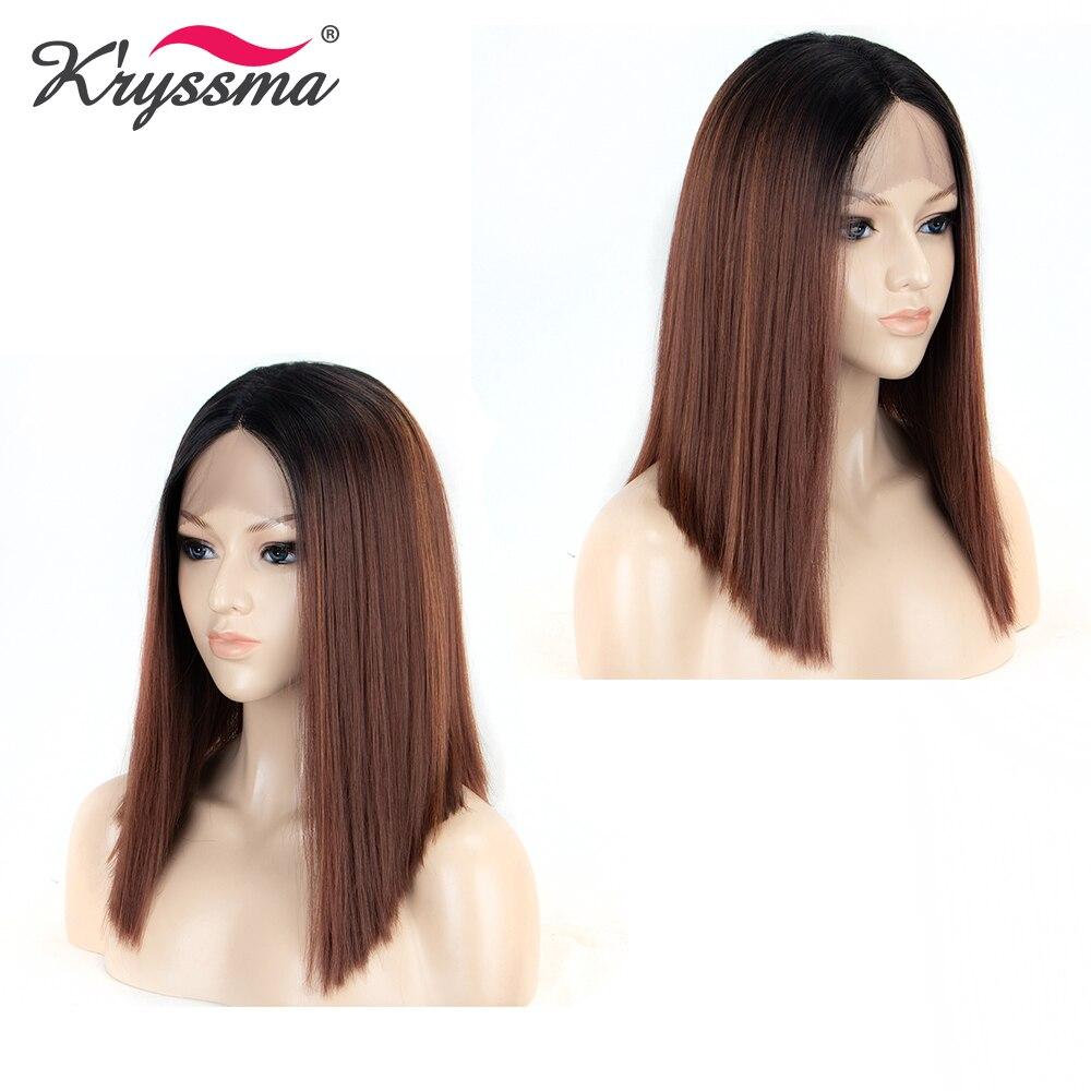 Perruques blondes pour femmes racines noires 4 ''longue séparation synthétique dentelle avant perruque T partie 2 tons courte perruque droite sans colle 6 couleurs - 3