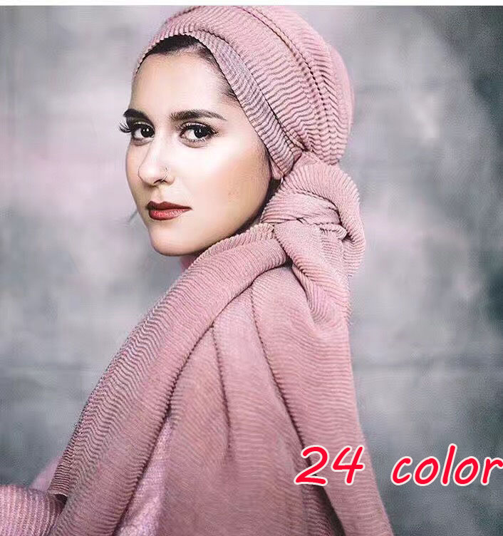 2017 Popular ladies Ripple wrinkle scarf shawl wrap raised grain drape muslim headband viscose autumn scarves 20 color 10pcs/lot
