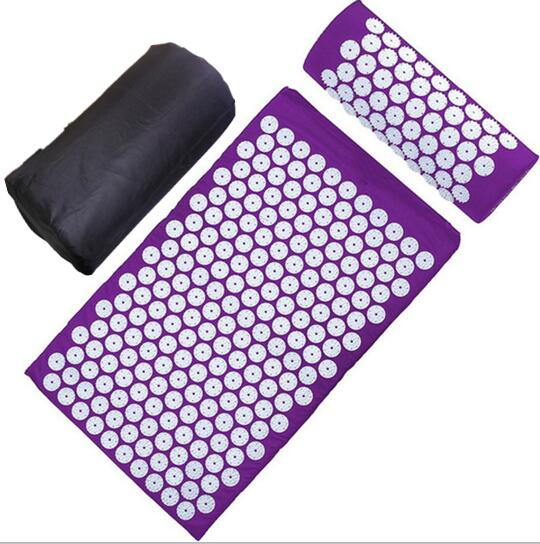 Body Therapy Massager Mat Traditional Acupuncture Mat Pillow Massage Device Yoga Mat Acupressure Cushion with Carrybag