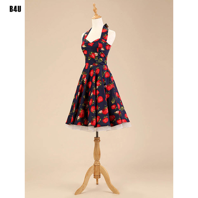 Robe Moulante Sexy 50s 60s Retro Rockabilly Dress Black Strawberry