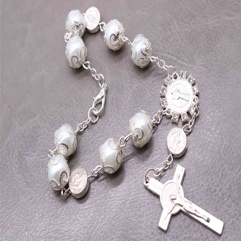 Silver Pearl St. Benedict Cross Bracelet On Baptismal Greetings Support For Holy Communion Catholic Rosary