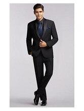 11a6f1deac Por encargo del novio esmoquin negro Groomsmen Shawl Satin Lapel hombres  trajes de boda mejor hombre traje (chaqueta + Pantalone.