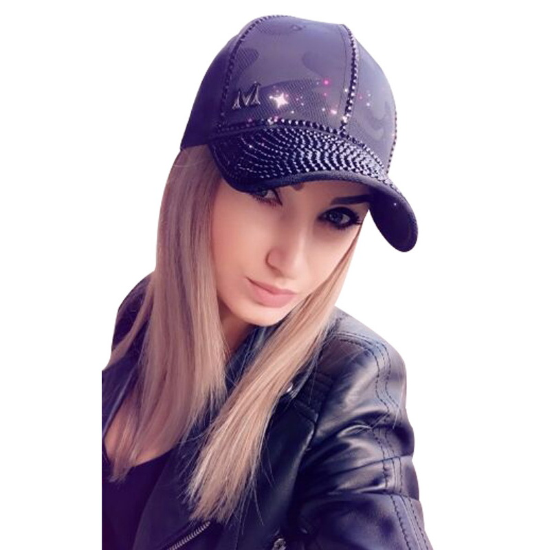 women   cap   hat new design women luxury rhinestone casual fashion   baseball     cap   solid jet white pink adjustable size casual   caps