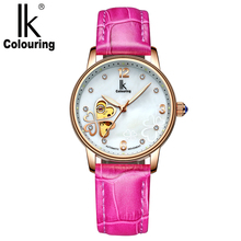 IK coloring роскошные розовое золото женские механические наручные часы четырехлистный клевер Скелет Reloj Mujer автоматические женские часы