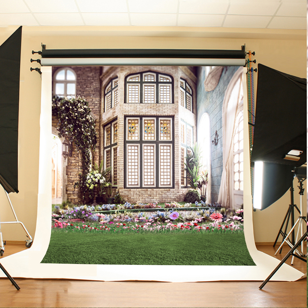 Wedding Photography Backdrops Flowers and Grassland Photographic Background Sun Window House Background for Photographic Studio