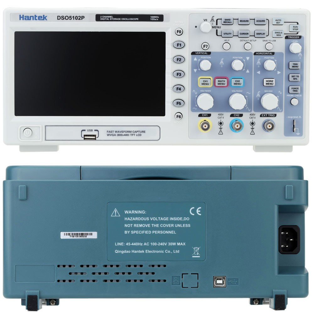 Hantek DSO5102P Digital Oscilloscope 100MHz 2Channels 1GSa/s Real Time sample rate USB host and device connectivity 7 Inch hantek dso5102p digital oscilloscope portable 100mhz 2channels 1gsa s record length 40k usb lcd handheld osciloscopio 7 inch