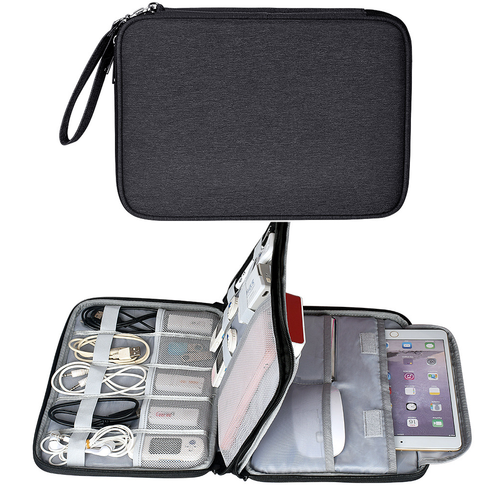 Waterproof Electronics Accessories Organizer Travel Bag Tablet Storage Case for iPad Mini Air 2 Phone Charger Power Bank Cable