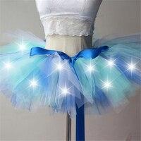 Women Tulle Tutu Skirt Mini Fancy Adult Petticoat Fluffy Yarn Ballet Dance Skirt Halloween LED Light