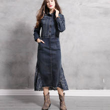 Женское винтажное джинсовое платье до середины икры с длинным