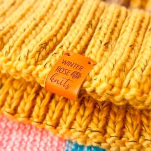 Image 1 - Custom Labels,Personalized Tags, Tags,  With Love, Leather Tags, personalized tags, knit labels, Custom Name,  Handmade (PB1502)