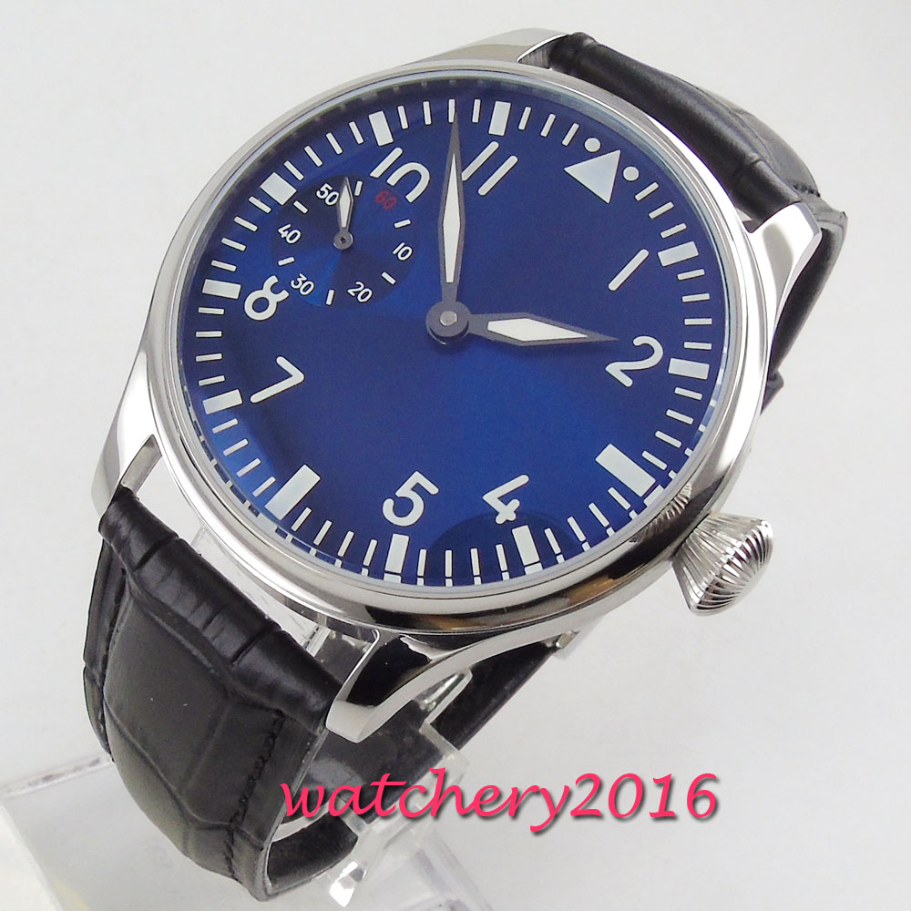Luxury 44mm PARNIS Blue Dial mens watch luminous hands Leather strap 17 jewels 6497 hand winding movement Mens watchLuxury 44mm PARNIS Blue Dial mens watch luminous hands Leather strap 17 jewels 6497 hand winding movement Mens watch