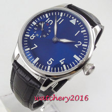 цена Luxury 44mm PARNIS Blue Dial men's watch luminous hands Leather strap 17 jewels 6497 hand winding movement Men's watch онлайн в 2017 году