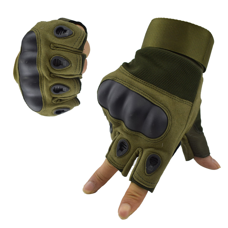 Army Men's Airsoft Gloves Outdoor Sports Hiking Hunting Half Finger Military Combat Anti-Skid Hard Knuckle Tactical Gloves