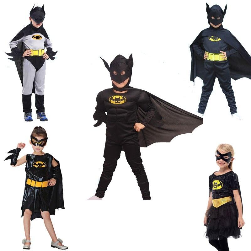 2018 Halloween Batman Costumes for Girls Boys with Cloak Mask Belt Halloween Birthday School Party Cosplay Batman Kid Costume