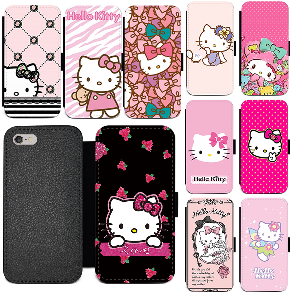 44ce69e86 Hello Kitty Protective PU Leather Flip Wallet Card Holder Phone Case For  iPhone 6