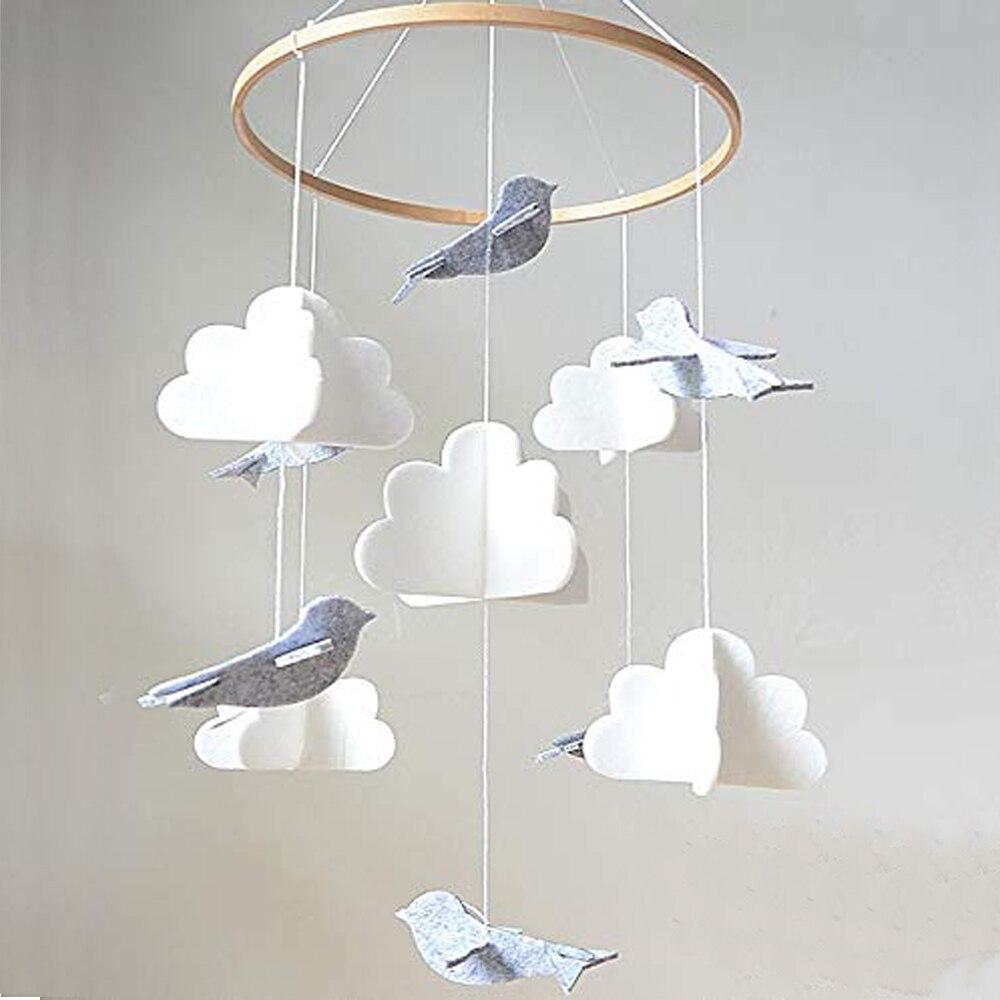 4e47027ddd025 Baby Crib Mobile - Birds & Clouds- Felt Nursery Ceiling Decoration for  Girls & Boys Grey & White