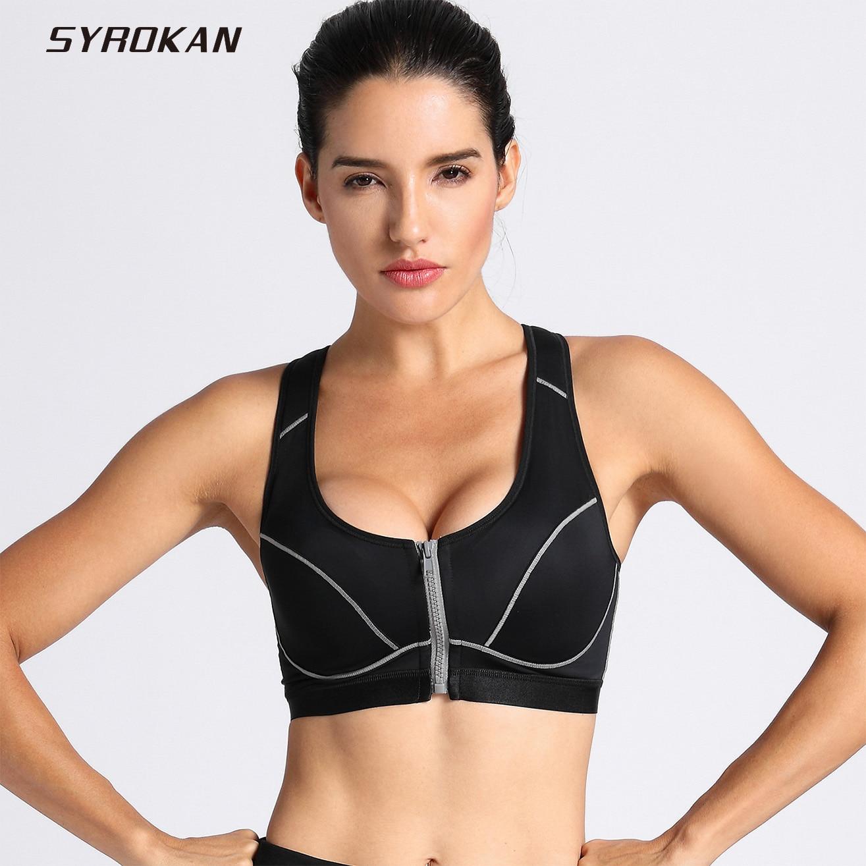 d0d75d6023f1c SYROKAN Women s Full Support High Impact Front Closure Racerback Sports Bra