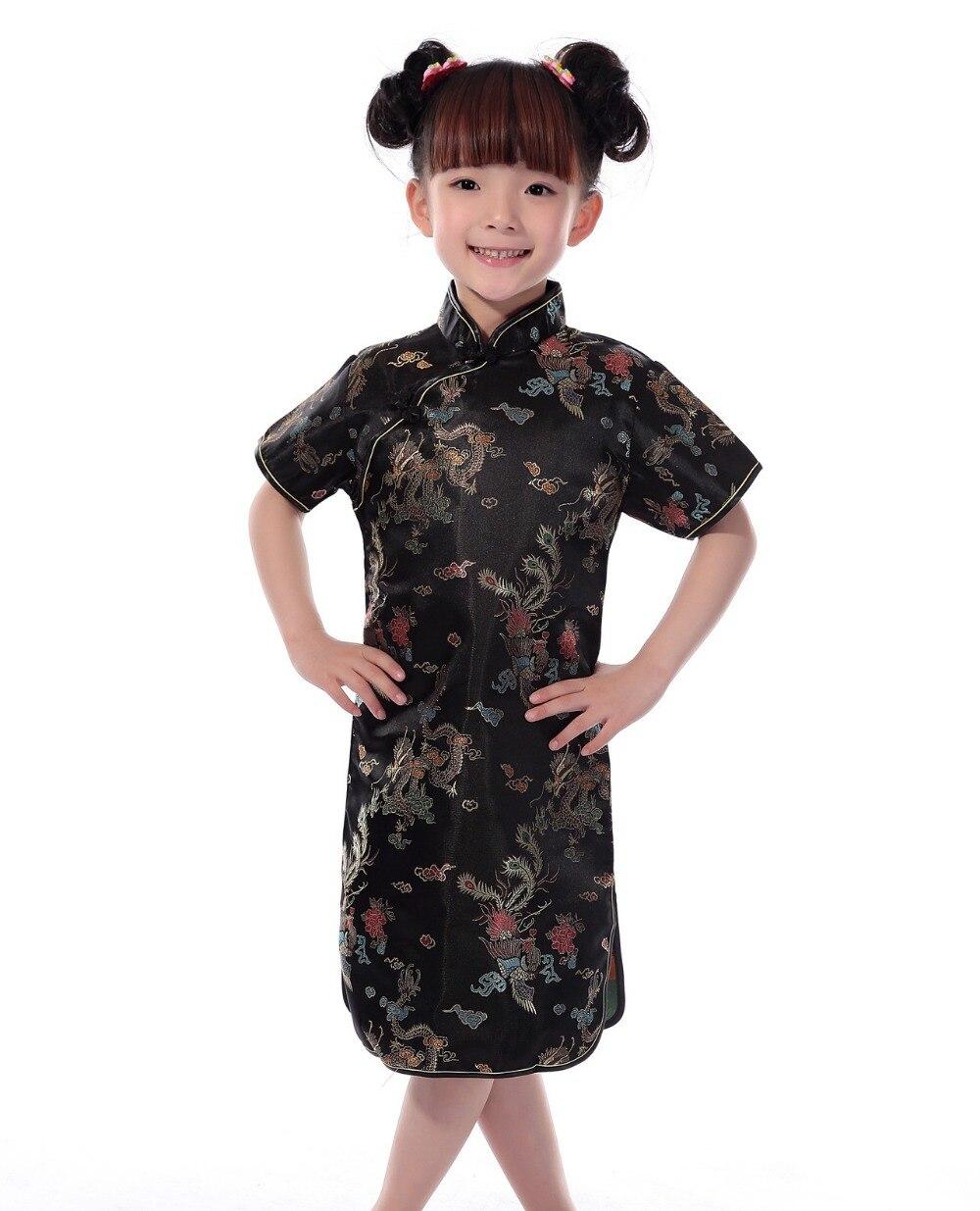 Shanghai Story Russia Hot sale Chinese Kid Child Girl Dragon Cheongsam Dress girls Qipao Faux Silk