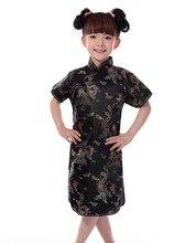 Шанхай история России горячая Распродажа китайский детей детский для девочек Чонсам с драконами платье Qipao искусственного шелка одежда Бесплатная доставка
