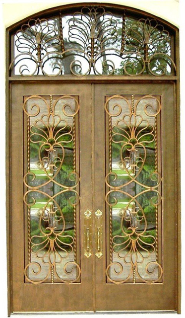 Wrought Iron Door Commercial Entry Door Sat 106 With Yellow Color